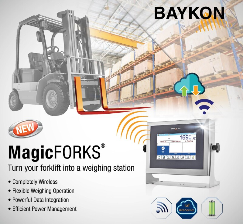 New Baykon Product MagicFORKS - Turn your forklift into a weighing station