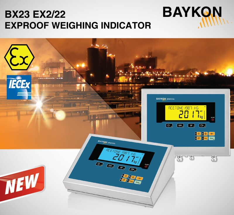 New range - BAYKON BX23 Ex2/22 Weighing Indicator