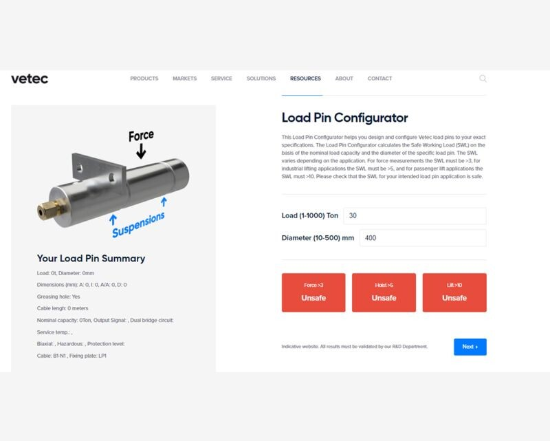 Vetec A/S have Released their New Load Pin Configurator