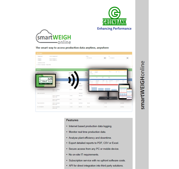 Greenbank's New SmartWEIGH online data logging systems launched
