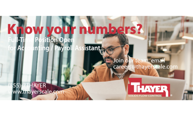 Job Offer By Thayer Scale-Hyer Industries, Inc. - Accounting / Payroll Assistant
