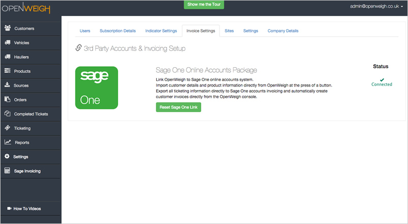 OpenWeigh release Sage One Invoicing integration